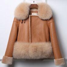 Мех история Для женщин double faced кожаные пальто натуральном овечьем обмен Мех подкладка и Кожезаменитель куртка Модные Стиль 17167(China)