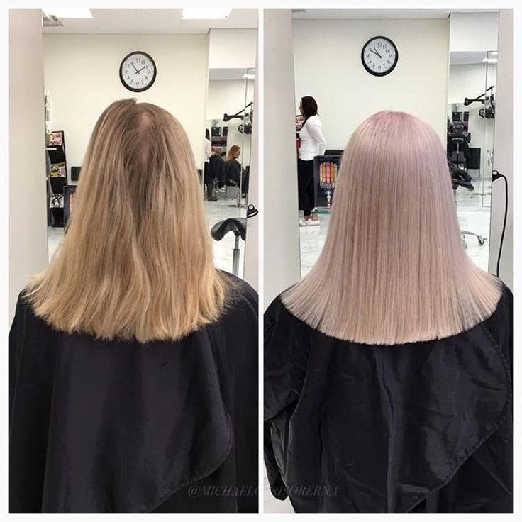 Här har vi ljusat upp kundens hår rejält och tonat in i en kall pastellig nyans. Så snyggt!  #olaplex #pastelhair #straighthair