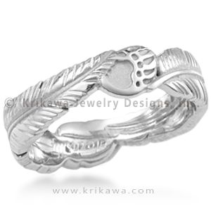 Feather Bear Claw Wedding Band This Organic Ring Has Two Eagle Feathers And Claws Spiritual Native American Symbols