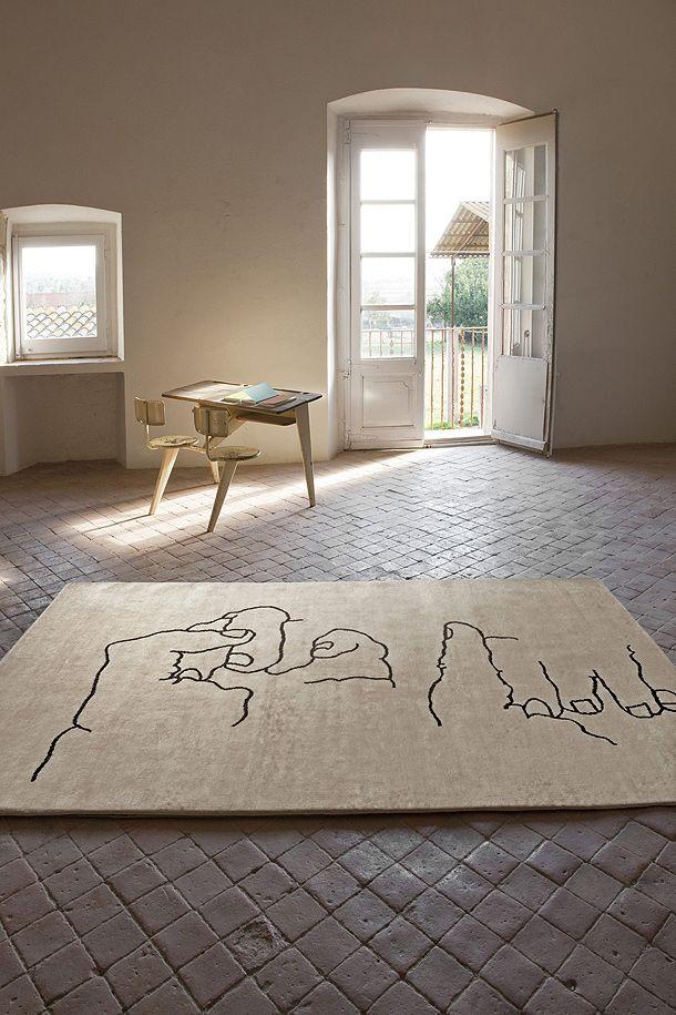 Nanimarquina - Chillida collection: Interior, Eduardo Chillida, Manos 1995, Floor, 1995 Rug, Rugs, Nani Marquina, Chillida Manos