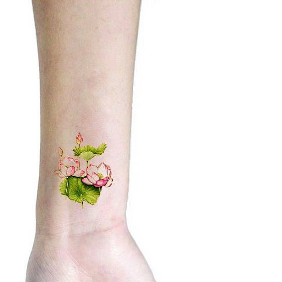 Pink lotus small temporary tattoo / floral illustration tattoo