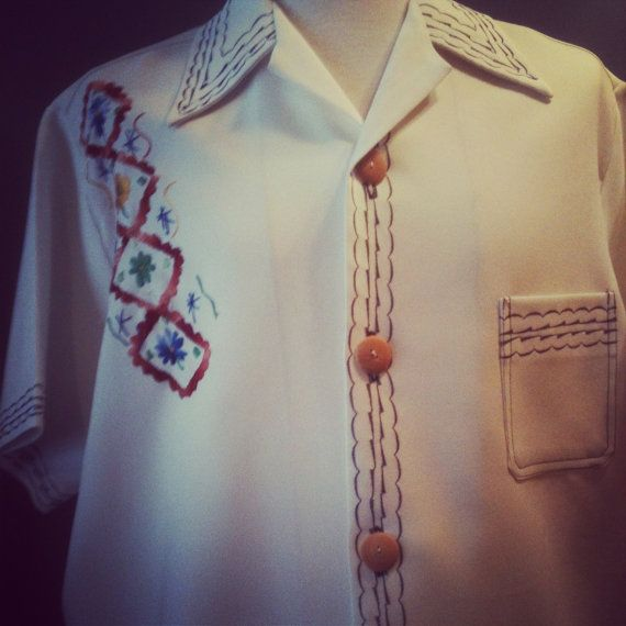 Handmade/Embroidered/Mexican Wedding Shirt/WOW by EuphoricReBelle, $45.00. For rehearsal dinner fun