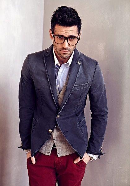 A denim blazer mixed with plum denim pants creates a rich smart casual look.