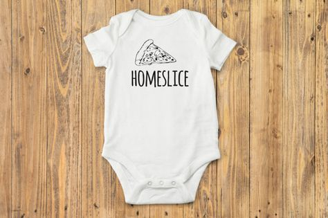 Boho baby boy (or girl) bodysuit with adorable hipster pizza drawing and HOMESLICE written across the front. This funny baby graphic print Onesie®️️️