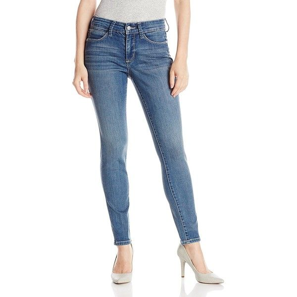 NYDJ Women's Petite Ami Super Skinny Jeans In Heyburn ($87) ❤ liked on Polyvore featuring jeans, petite, nydj skinny jeans, nydj jeans, blue jeans, petite skinny jeans and nydj