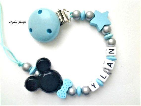 Mignon bébé personnalisé en bois perle Sucette Anneau de dentition Dummy Clip Holder GIRL BOY