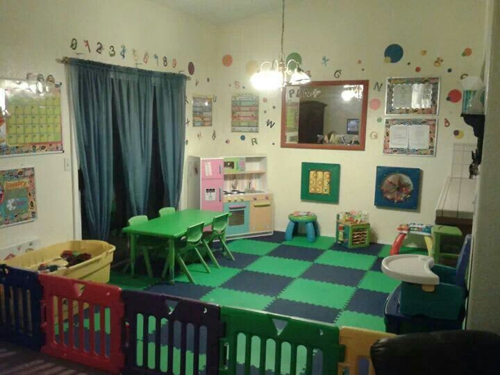 In home daycare how she sectioned of room childcare room ideas pinterest home infants - Daycare room design ...