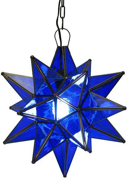 Blue Glass Star - front porch light  #Mexico #interiordesign #lighting