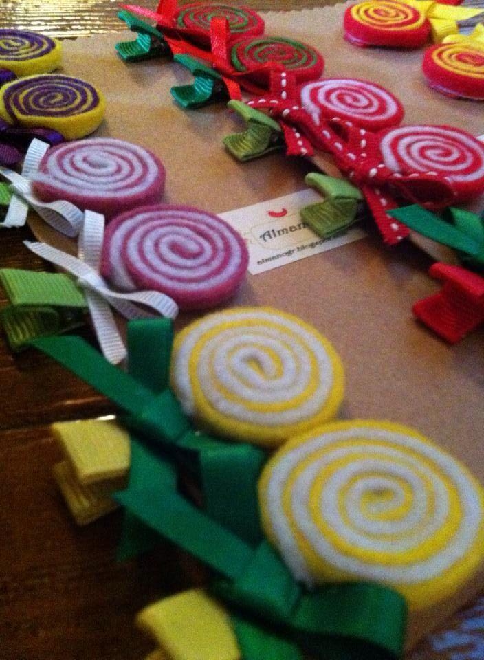 Lollipop hair clips  #handmadehairclips #handmadefelthairclips #felthairclips #lollipops #handmadelollipops #almanogr