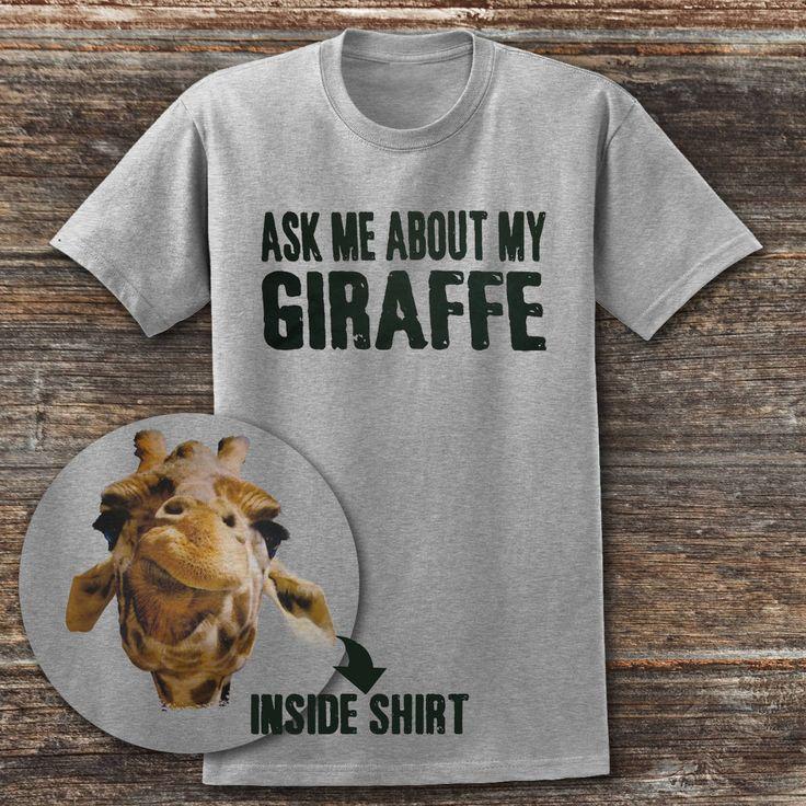 Ask me about My Giraffe T shirt Giraffe Tee shirt safari T shirt Funny Giraffe t shirt zoo shirt. giraffe shirt by somanygreatthings on Etsy