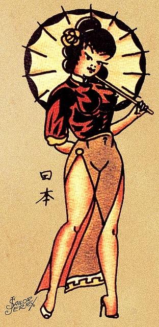 Sailor Jerry Asian Girl Tattoo Flash | KYSA #ink #flash #tattoo
