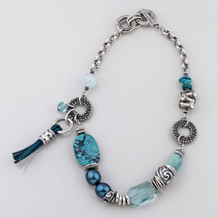 #miglio N1582 Turquoise semi-precious stone, blue shell #pearl and #leather #tassel #necklace with patterned burnished silver elements - www.miglio.com