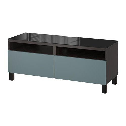 BESTÅ TV-Bank mit Schubladen - schwarzbraun/Valviken grautürkis, Schubladenschiene, sanft schließend - IKEA