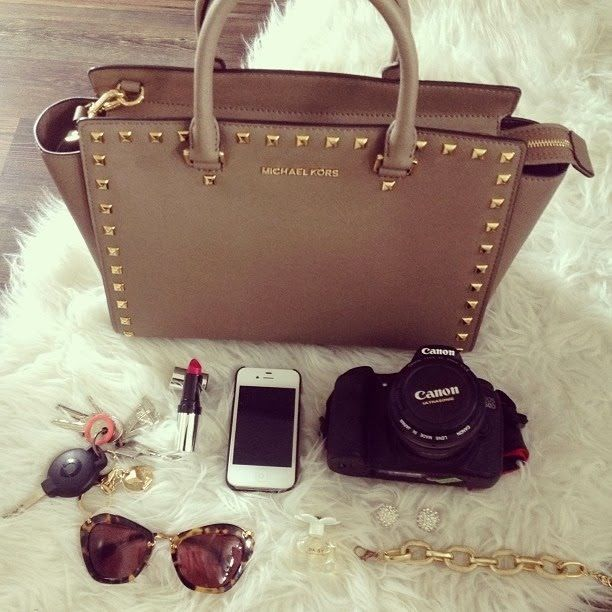 Tan Michael Kors Bag - Gold Studs