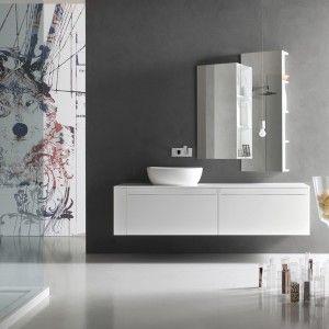 Arcom Meta 01 L.183 x P.51 cm Bianco opaco, lavabo tutto fuori in ceramica Milk Big opaco Top laccato bianco opaco sp. 1,8 cm