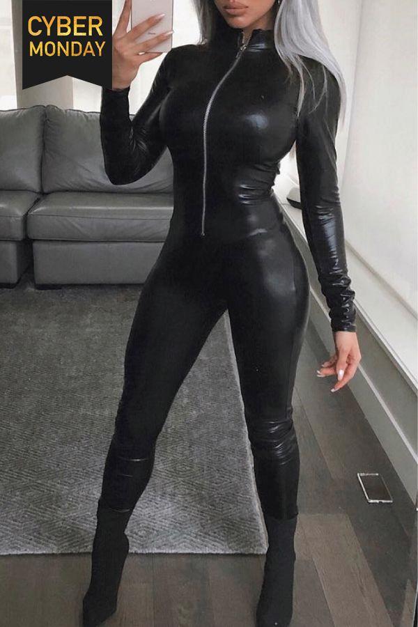 6ec53c573769 Zip Up Long Sleeve Skinny PU Jumpsuit