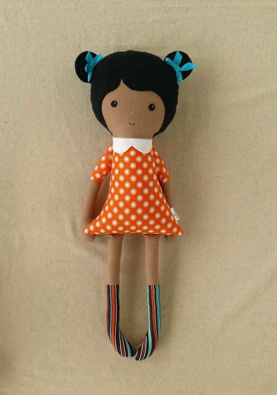Large Fabric Doll Rag Doll with Orange Dress by rovingovine