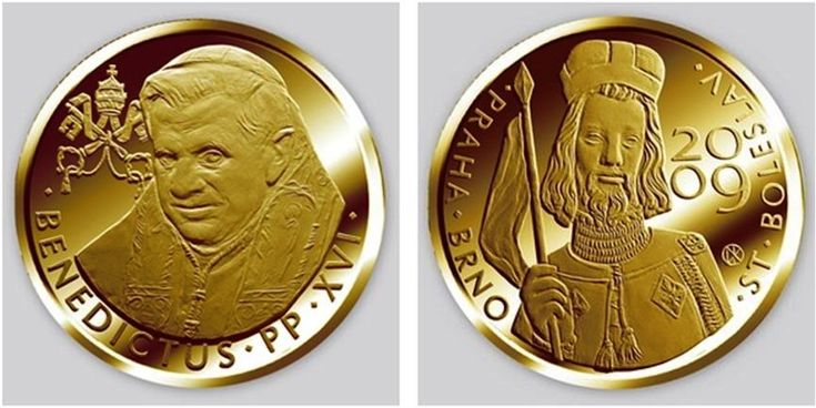 """Decorative gold coin with the inscription 'Benedict XVI Pont Max Anno IV' with the profile of Pope Benedict the XVI from His Holiness Pope Benedict XVI, Holy See."""