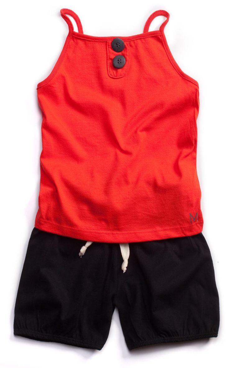 MINIMALIST - SUMMER #Red&Black #Button Singlet
