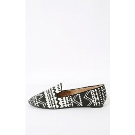 Wild Diva Starla-33 Two Tone Aztec Loafers BLACK