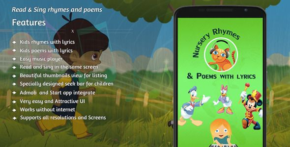 """Purchase the source code of our """"Nursery Rhymes & Poems"""" for android only in $14"""