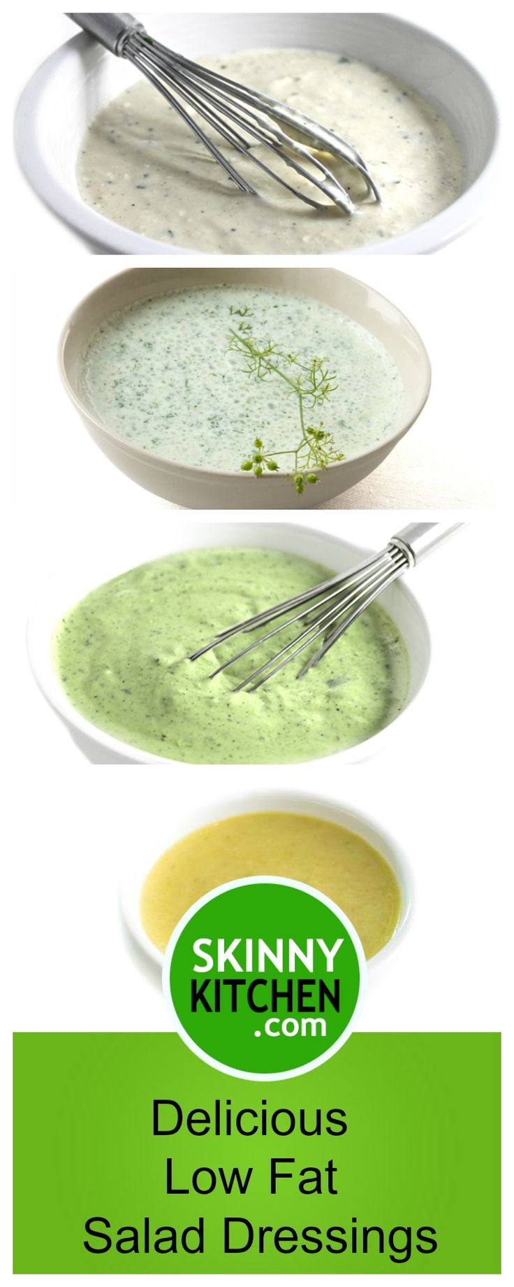 5 More Incredibly Delicious Low Fat Salad Dressings. All start with my skinny ranch dressing as the base. They include, Parmesan Ranch, Cilantro, Curry, and Green Goddess. All dressing are under 24 cal/TBSP and under 2g fat. All include SmartPoints #saladdressings #glutenfree http://www.skinnykitchen.com/recipes/5-more-delicious-low-fat-salad-dressings/