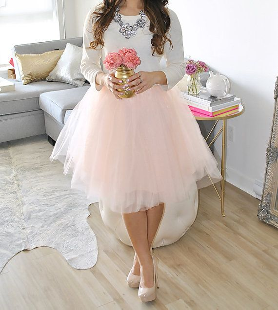 Adult tulle skirt blush tulle skirt ladies tutu by for How to make a long tulle skirt for wedding dress