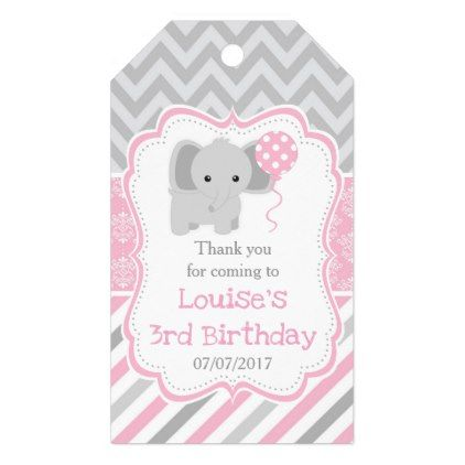 Cute Elephant Pink Damask Birthday Thank You Gift Tags - thank you gifts ideas diy thankyou