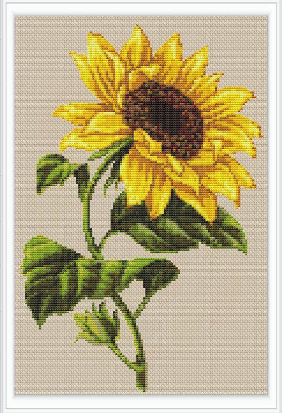 Sunflower Modern Cross Stitch Pattern Pdf Instant Download Modern Cross Stitch Patterns Cross Stitch Sunflower Cross Stitch