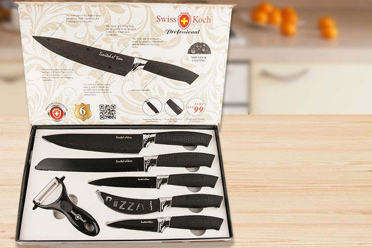 "6pc Swiss Koch Professional Culinary Set - 2 Colours! deal in Cutlery Get a 6pc Swiss Koch knife set.  With professional standard, high-carbon stainless steel blades!  Plus ergonomic silicon handles and anti-bacterial / rust coatings.  Choose from black or multicoloured.  A 3.5"" paring knife, 5"" utility knife, 8"" slicer, 8"" bread knife, pizza cutter.  And a matching vegetable slicer! BUY NOW..."