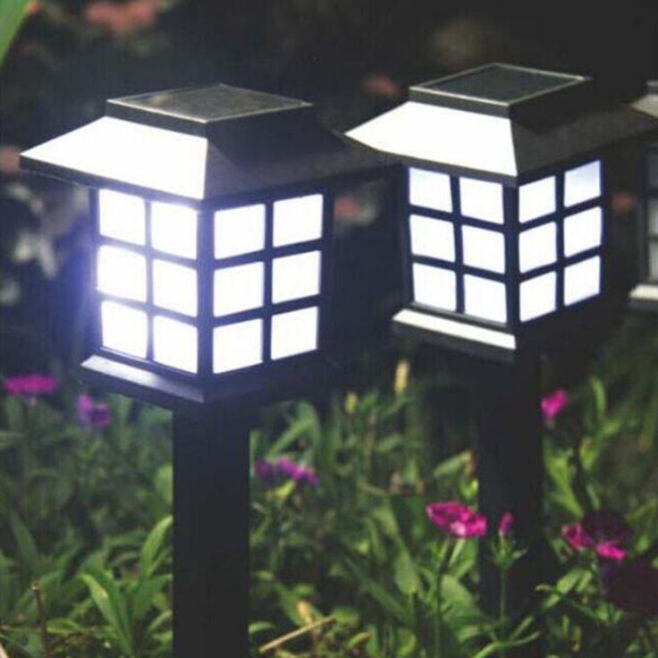 Tanbaby 4 pcs Istana Lentera Solar Powered Taman Landscape Pathway Dekorasi Cahaya lampu Sensor Cahaya untuk Berkebun