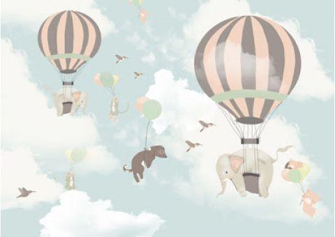Murale Carta da Parati Hot Air Balloon Elephants Carta