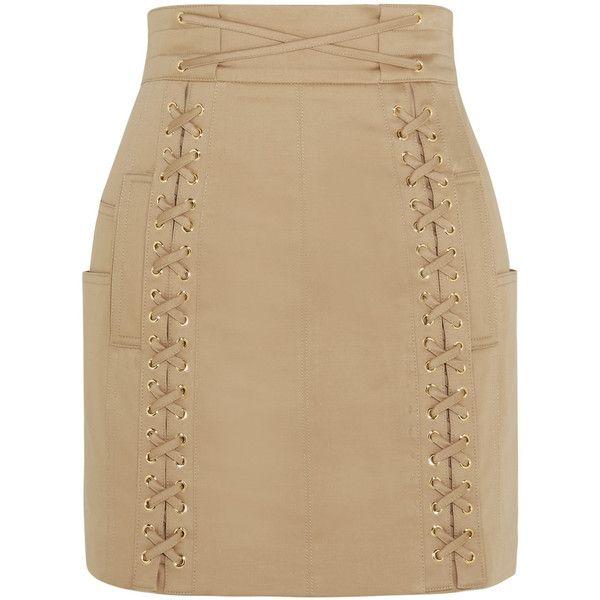 BalmainLace-up Stretch-cotton Canvas Mini Skirt (1 018 AUD) ❤ liked on Polyvore featuring skirts, mini skirts, bottoms, balmain, faldas, sand, short mini skirts, short skirts, cotton stretch skirt and beige skirt