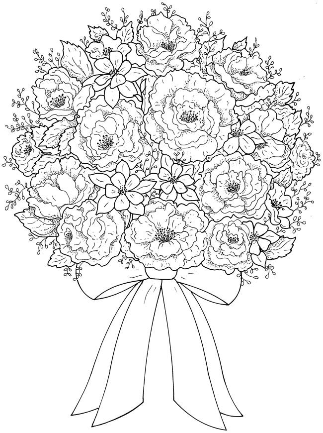 Creative Haven Beautiful Flower Arrangements Coloring Page 4