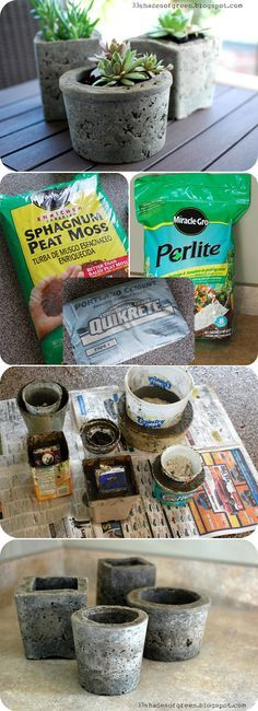 DIY PLANTERS :: Making Hypertufa Pots Tutorial :: Hypertufa is a stonelike material that mimics a type of rock. Make flower pots (or balls/pillars) in any shape size w/ just THREE INGREDIENTS!!! She shows you her method here is Matha Stewart's method (w/ patterns on the outside different shapes): www.marthastewart... one more method w/ GOOD TIPS: www.itsnotworkits…