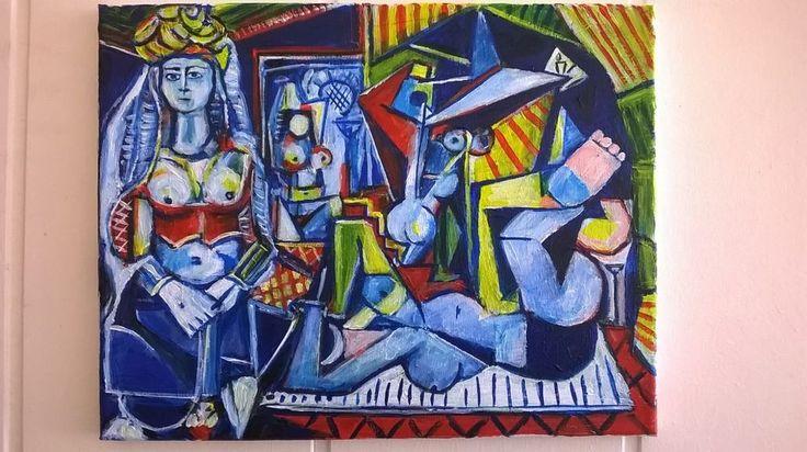 """Les femmes d'Alger"" interpretation of Picasso's painting.  11""x14"" jack larson #Abstract"