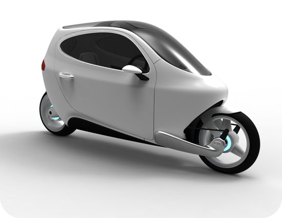 Unique take on the future of motorcycling.  The vehicle has two gyros that stabilize the motorcycle and allow it to stand up with no external support.