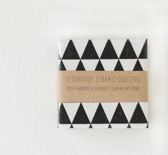 Black Triangles Handmade Ceramic Tile Modern Coasters door Tilissimo, $25.00