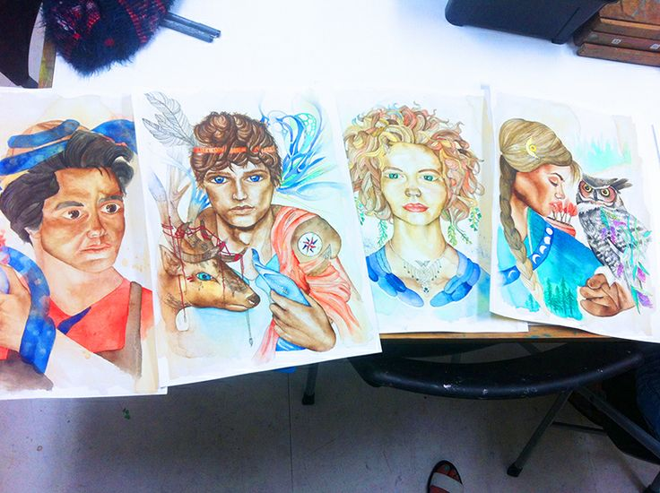 Inspiring watercolour portraits by one of our very talented young artists from our kids art classes. www.artandco.com.au