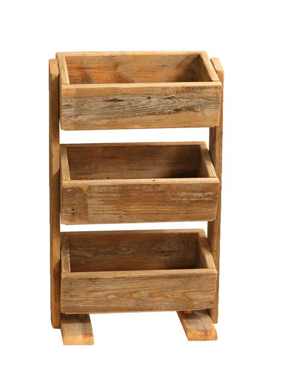 """This vegetable bin is great solution for a small space. This rustic storage container is great for vegetables, kitchen supplies, bathroom towels, or kids' toys. The stacked boxes are perfect for planting flowers, herbs, or succulents. The wood is hardy enough for indoor/outdoor use.  SIZE The finished product is 18.5"""" wide x 11"""" deep x 32.5"""" high. Each box is 17.5"""" wide x 9"""" deep x 5.5"""" tall on the outside.  MATERIALS This product has a satin polyurethane finish and is made from lumber…"""
