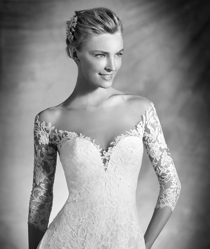 Varnava, Kleid aus Spitze mit langen Ärmeln, für die romantische Braut