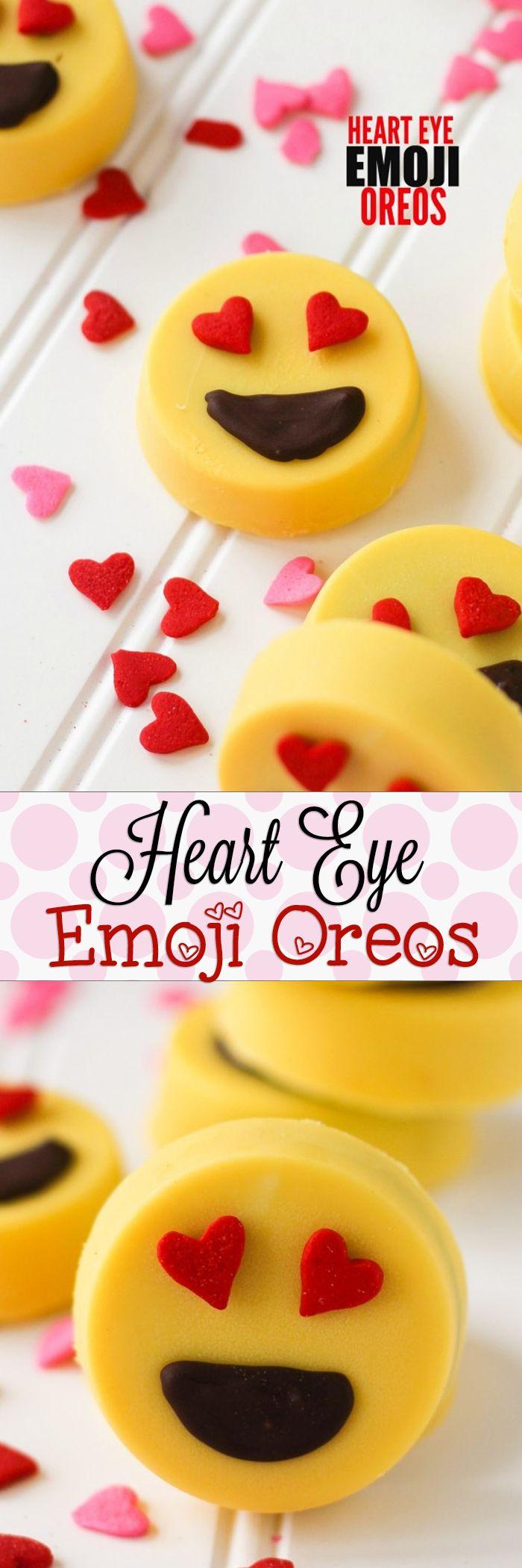 Chocolate Covered Heart Eye Emoji Oreos! So fun, no bake, the kids will love them!!