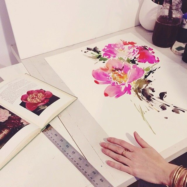 hand-painted florals by Helen Dealtry