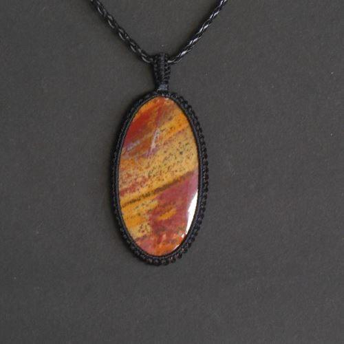 Oval bloodstone macrame pendant gemstone