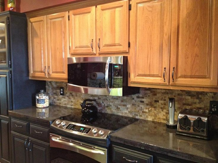 Kitchen Concrete Countertops Charcoal Stain Epoxy Finish Travertine Stacked Stone Backspl