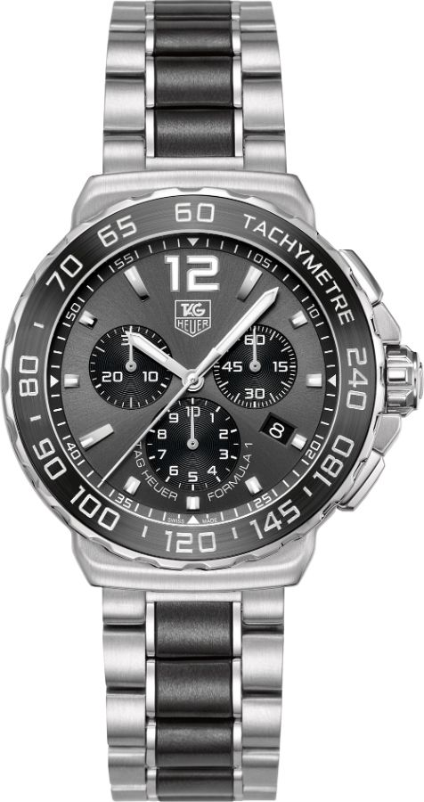 CAU1115.BA0869   NEW TAG HEUER FORMULA ONE F-1 MENS QUARTZ WATCH IN STOCK - Luxury Sales Event on All Tag Heuer Watches   - FREE Overnight Shipping   Lowest Price Guaranteed    - NO SALES TAX (Outside California)- WITH MANUFACTURER SERIAL NUMBERS- Anthracite Sunray Effect Dial- Chronograph Feature with Laptimer - Battery Operated Quartz Movement- 3 Year Warranty- Guaranteed Authentic  - Certificate of Authenticity- Brushed Steel Case - Steel with Black Tone Ceramic Bracelet  - Scratch…