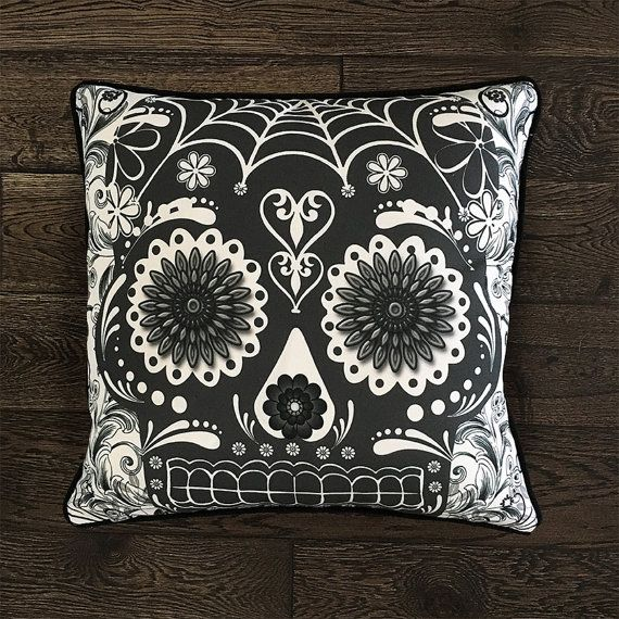Sugar Skull Pillow Cover  SK1  Black Sugar by FabFunkyPillows