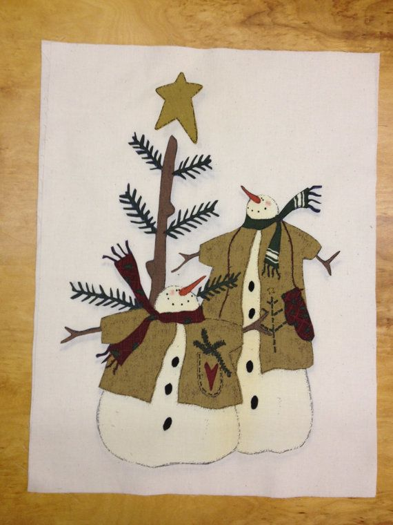 Snowmen Applique Quilt Block by KoopsKountryKalico on Etsy, $8.00