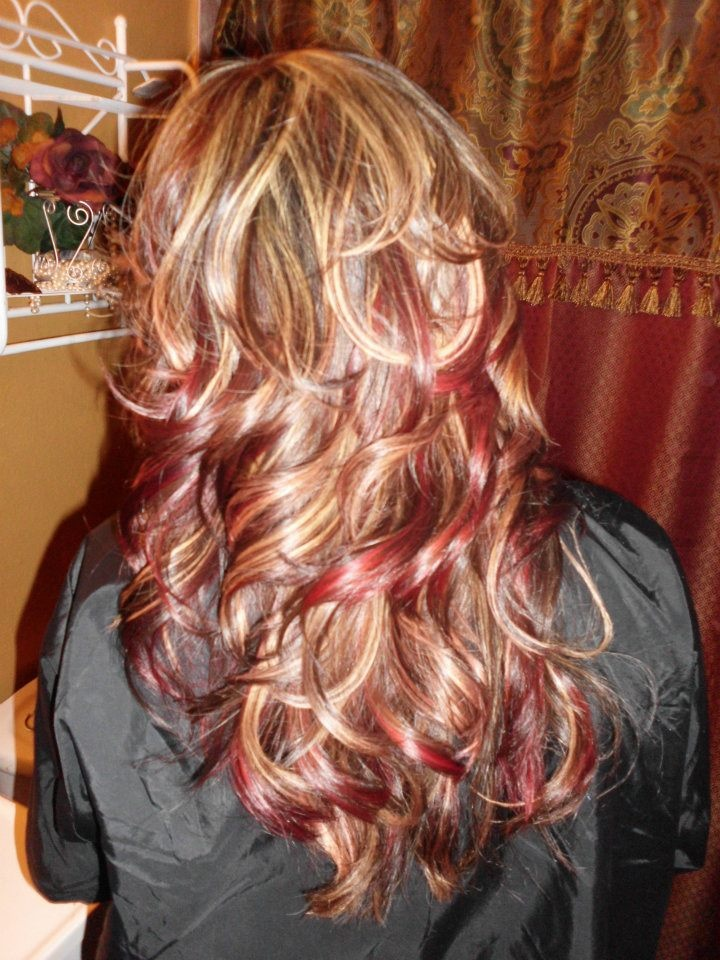 Red And Blonde Highlights My Style Pinterest Blondes