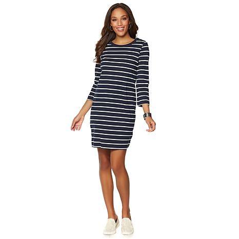 DG2 by Diane Gilman Striped T-Shirt Dress
